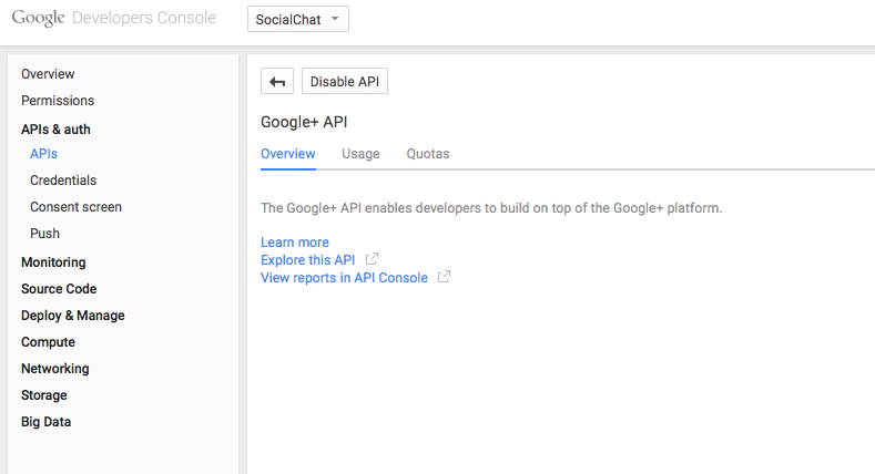 Google+ API Section