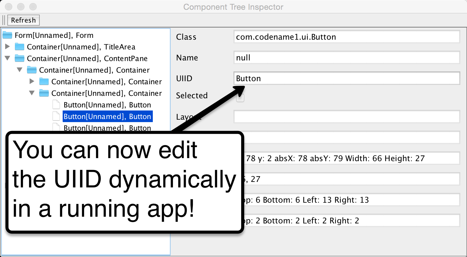 Edit UDID in Component Inspector - Codename One