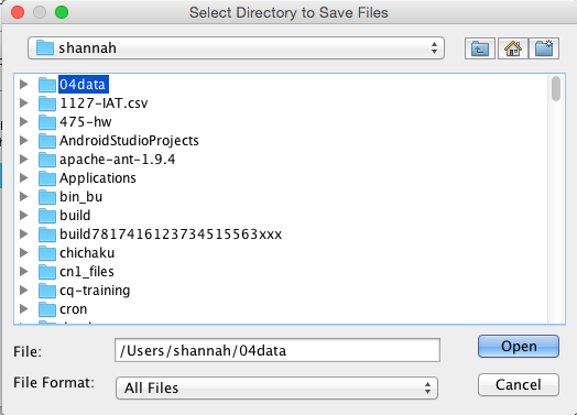 Select directory to save files in