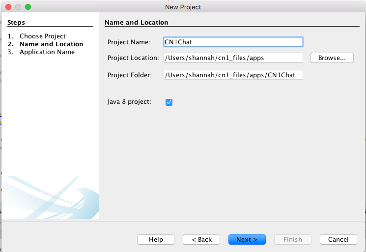 New project dialog in NetBeans