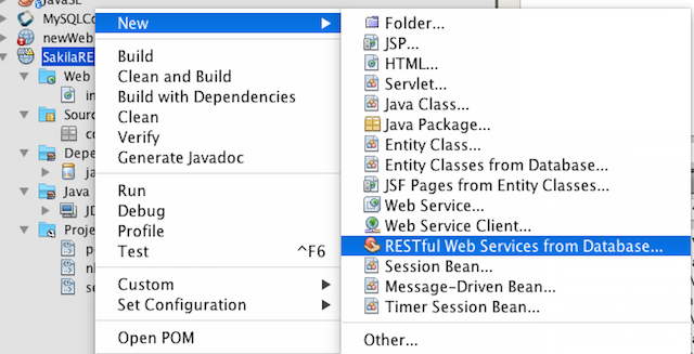 RESTful Web Services from Database menu item
