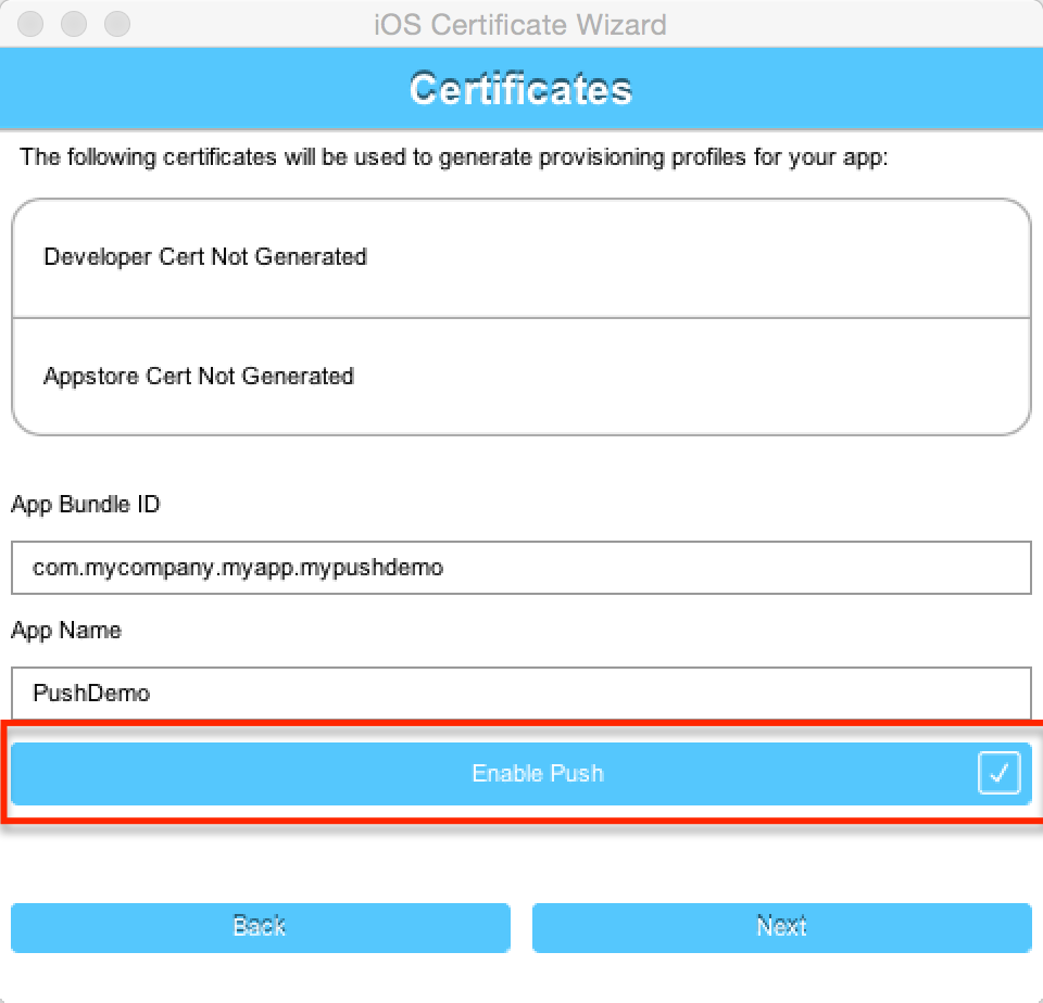 Enable Push in the certificate wizard