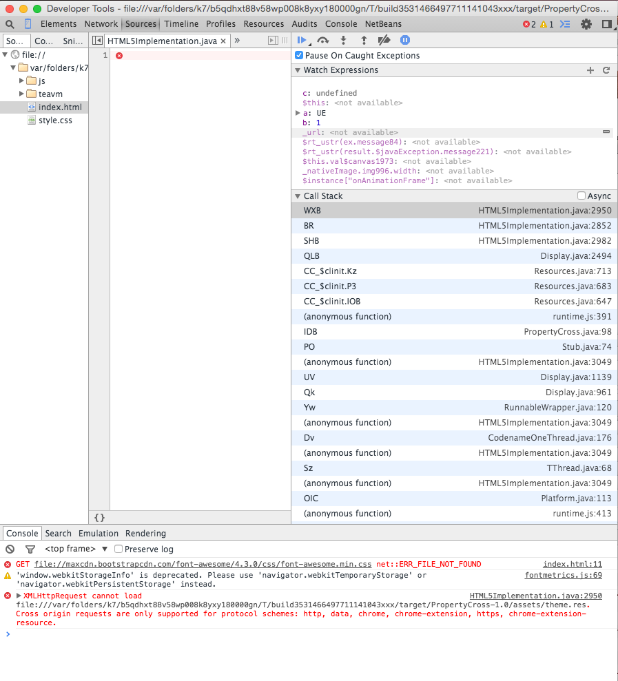 Debugging using Chrome tools