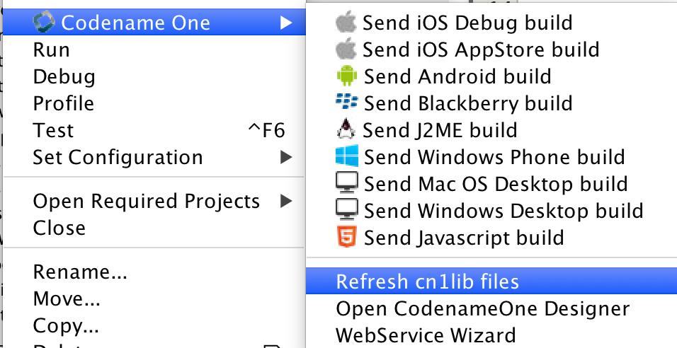 Refresh cn1lib files menu option