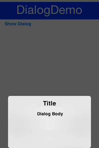 Custom Dialog in the south position