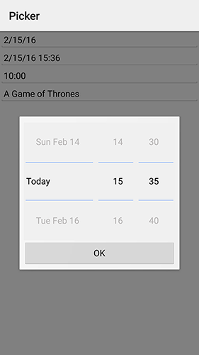 Date and time picker on Android. Notice it didn't use a builtin widget since there is none