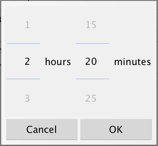 Android duration picker