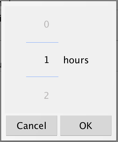 Hours Duration picker on Android device