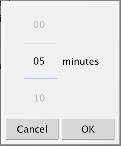 Minutes Duration picker on Android device