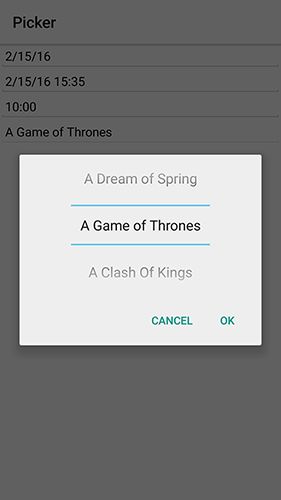 Android native String picker