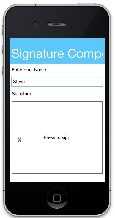 Signature Component button