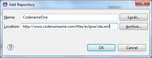Eclipse Add Repository Dialog