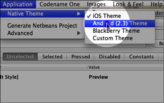 Native Themes Menu