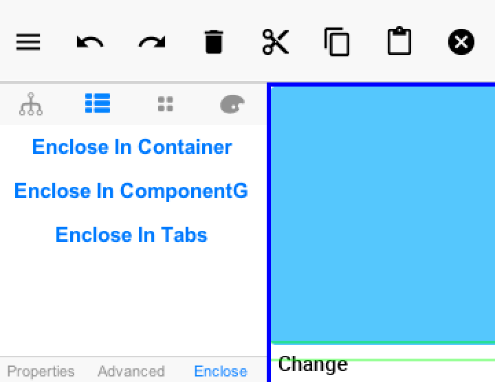 When we toggle on multi-select mode and select several components we can then enclose them in a Container
