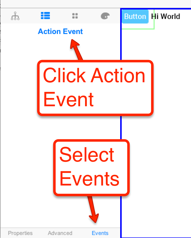 The events tab is listed below supported event types can be bound above