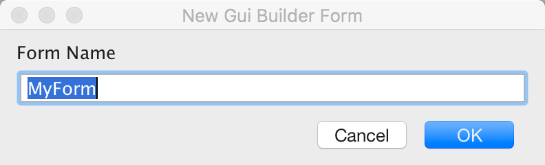 Type in a name for the new form