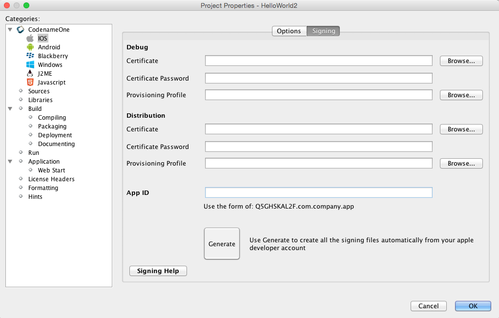 Signing, Certificates & Provisioning - Codename One