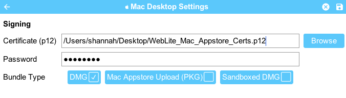 Working with Mac OS X desktop build and deploying to itunes Mac