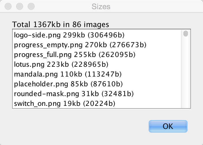 Image sizes window that allows us to find the biggest impact on our RAM/Storage