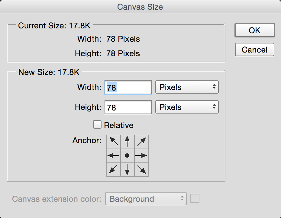 The canvas size dialog for the camera.png file