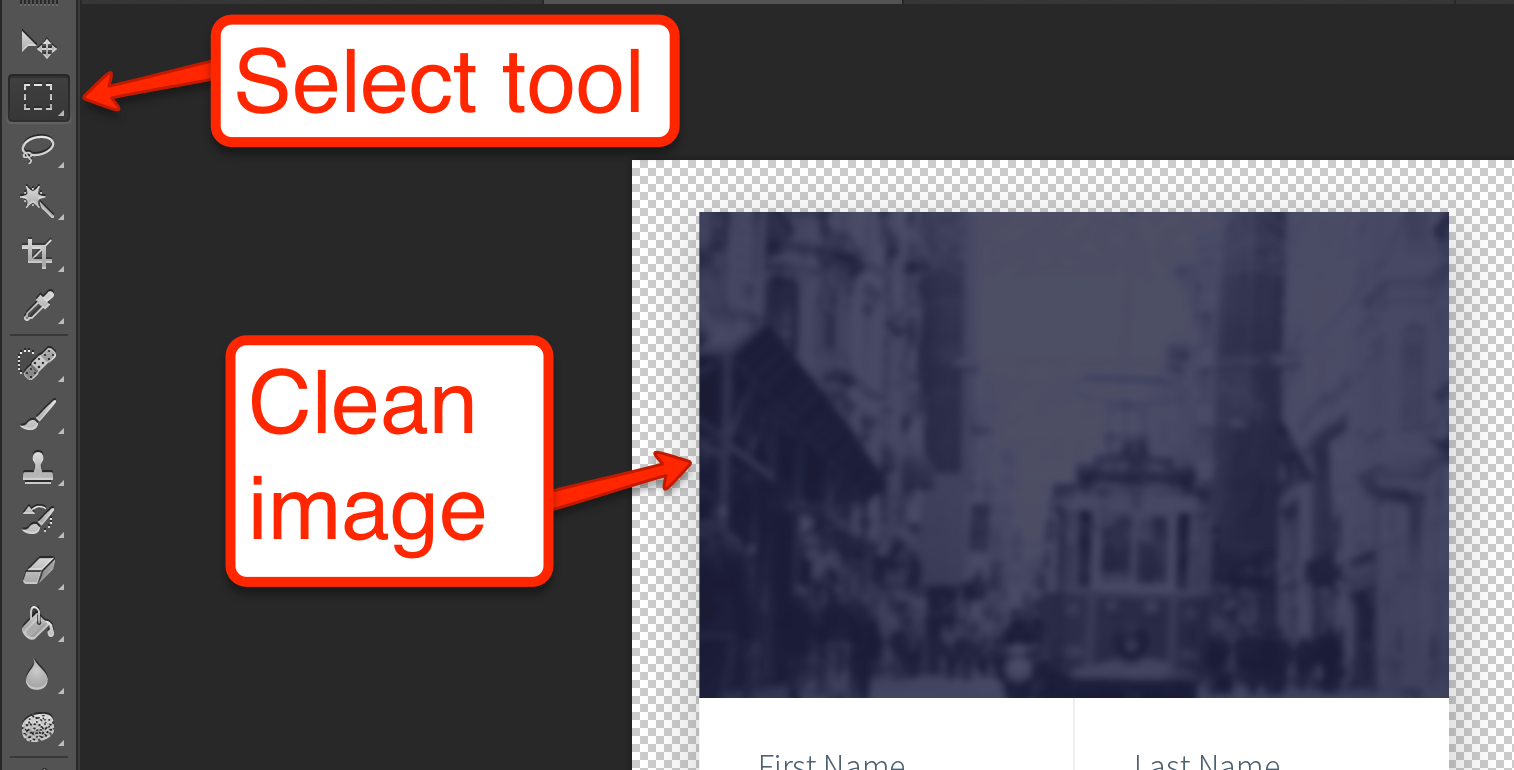 The select tool and the clean image we want to select
