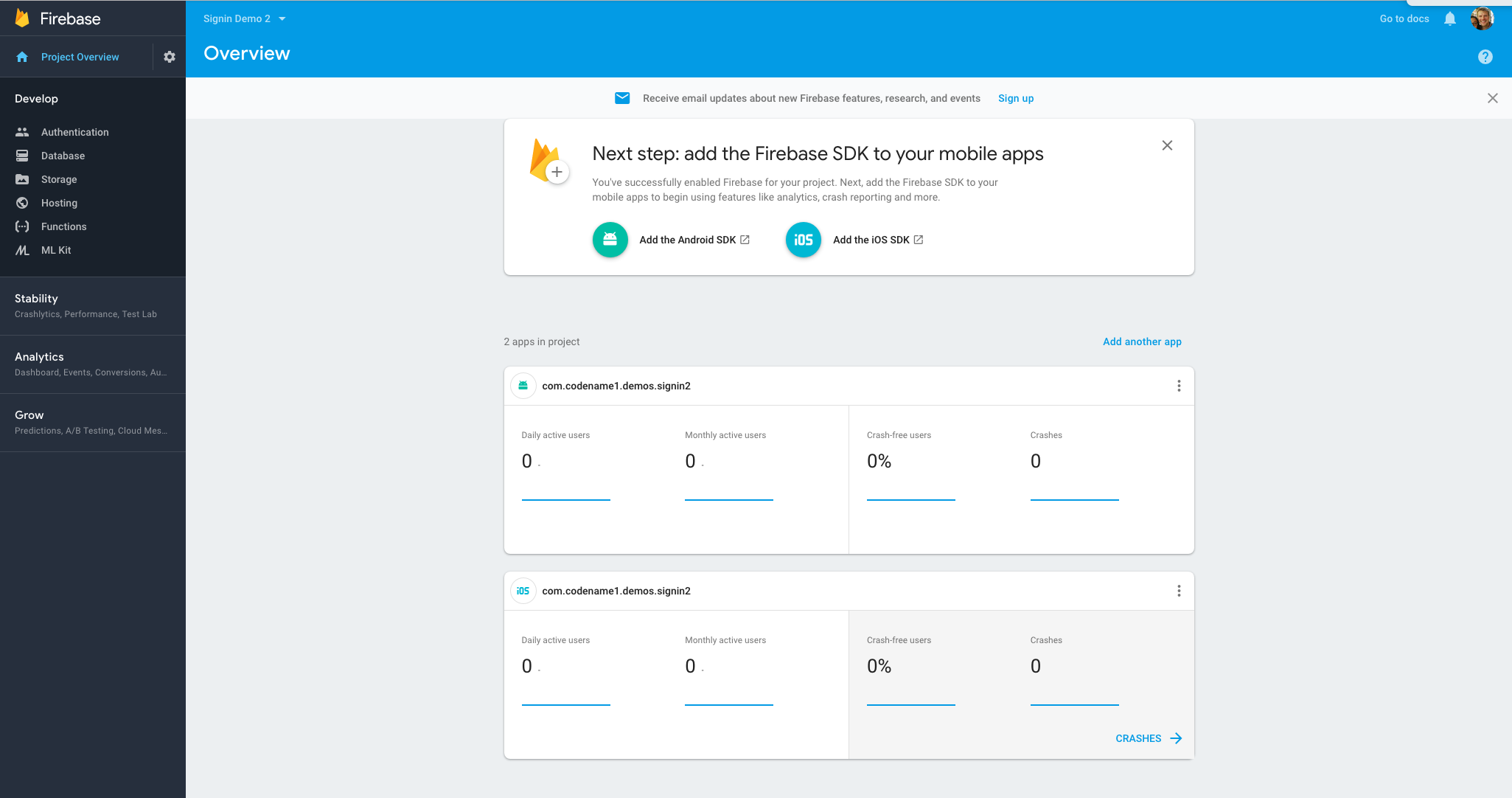 Firebase project dashboard