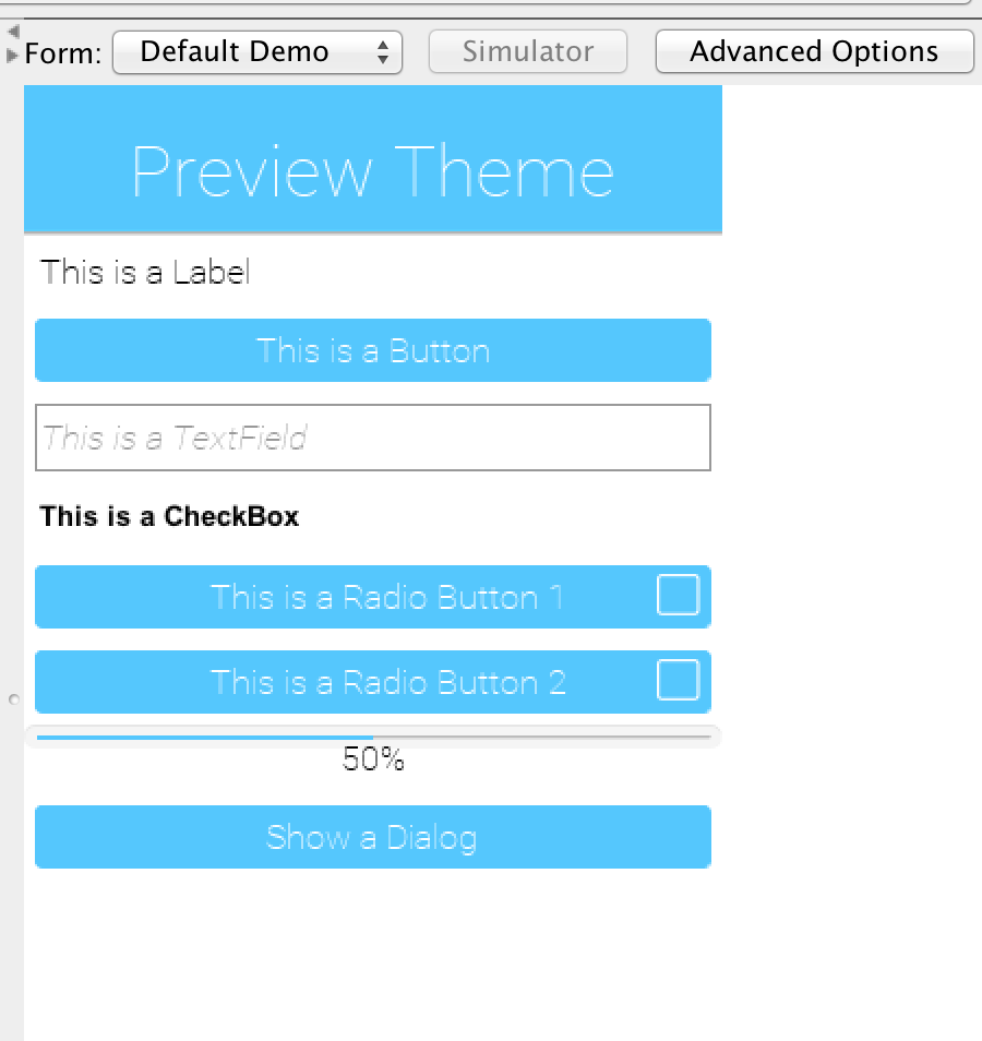 Theme preview section