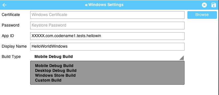 Windows panel of Codename One Settings