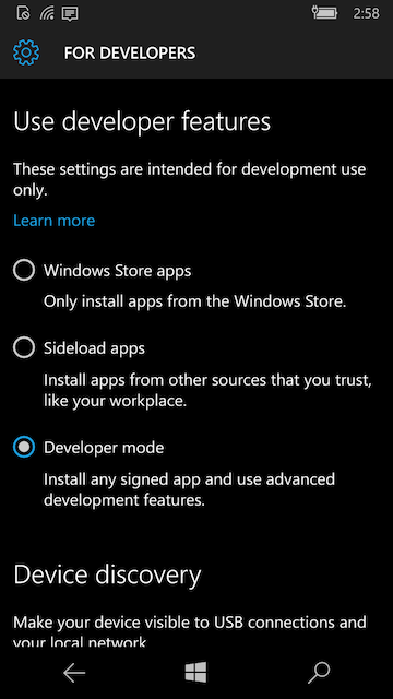 Developer mode in UWP Mobile settings