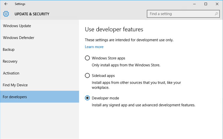 UWP Windows 10 Developer Mode