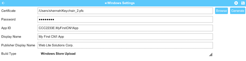 Settings for Windows Store uploads