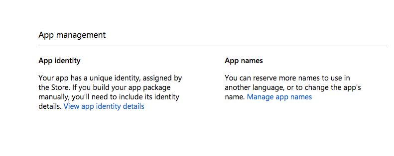 App Identity section