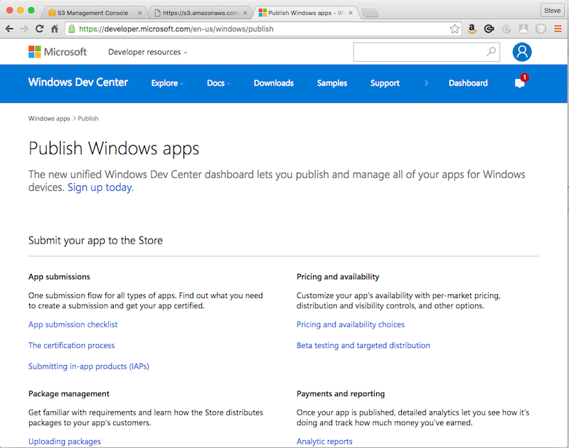 Publish windows apps webpage