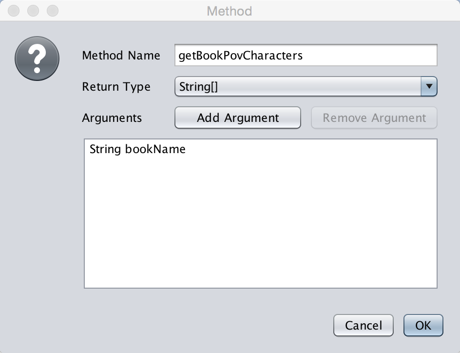 Add the methods and their arguments/return types. Once you finished adding all of those press the