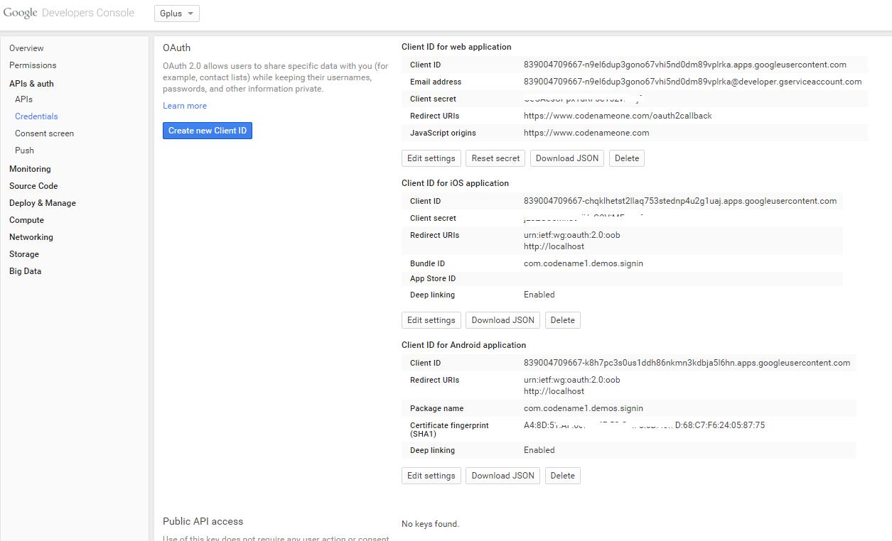 Google+ Login - Codename One