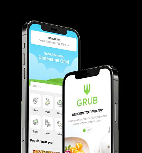 grub - ubereats clone phone illustration