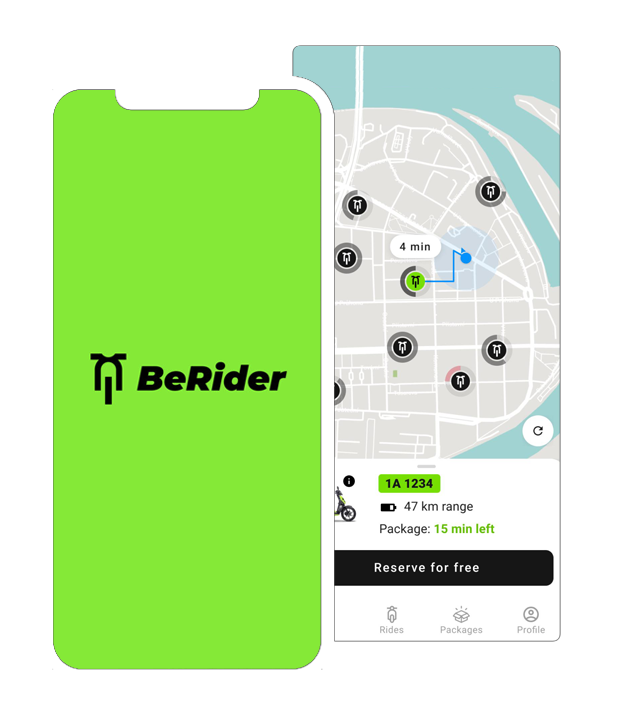 Shared electric scooters in Prague. Highly rated app with Google Maps integration.