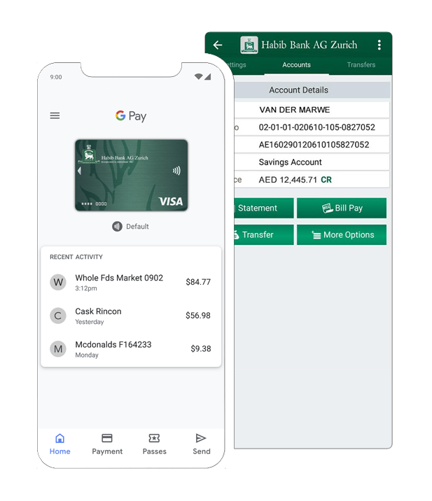 Mobile banking app of Habib Bank AG Zurich, a Swiss multinational commercial bank based in Zurich, Switzerland.