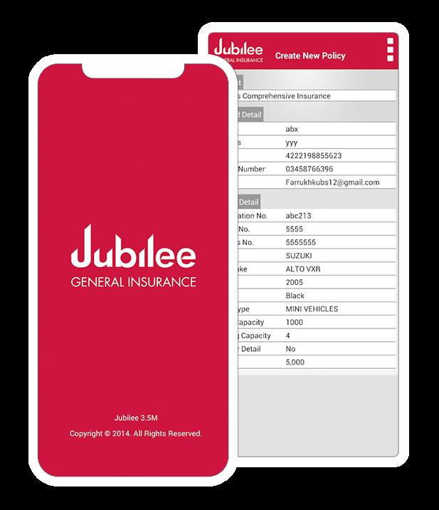 Car insurance app by Jubilee General Insurance.